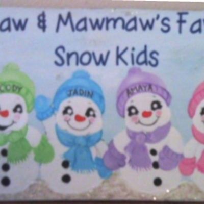 "6"" x 24"" snow kids (personalized sign) wall decor"
