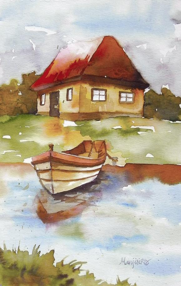 Riverside House Original Watercolor Painting Landscape