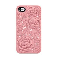 New 3D Relief Bloom Hard Case Cover For iPhone 4, 3 colors