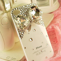 Bling Big Crystal Butterfly With Small Crystals On White Case For iPhone 4