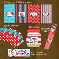 Dr Seuss Printable Baby Shower Package - Cat in a Hat Baby Shower DIY Set - Thumbnail 1