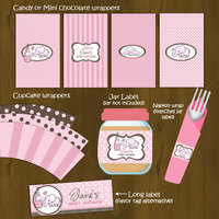 Pink Elephant Printable Baby Shower Package - Thumbnail 1