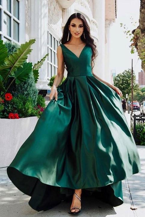 V Neckline Dark Green Prom Dresses With Satin Skirt On