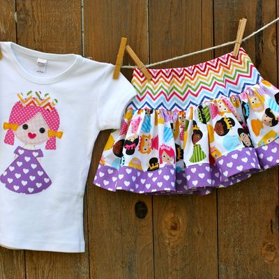 Princess birthday shirt and skirt