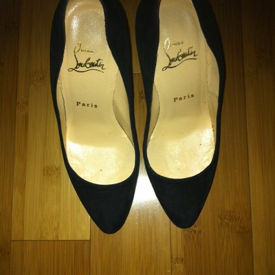 Christian louboutin black suede daffodil (size 37.5) us 7.5