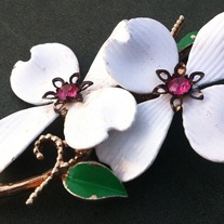 White Dogwood Flowers Vintage Brooch