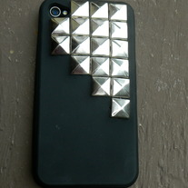 BLACK with silver studs Silicone iPhone Case