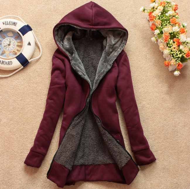 Plus Velvet Long-Sleeved Hooded Sweater Coat Loose JCHCB ...