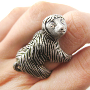 Large Sloth Animal Hug Wrap Ring in Silver - Sizes 4 to 9 Available