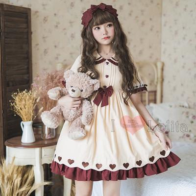 Japanese fashion harajuku kawaii pattern short sleeve casual dress lolita dress lk19052810