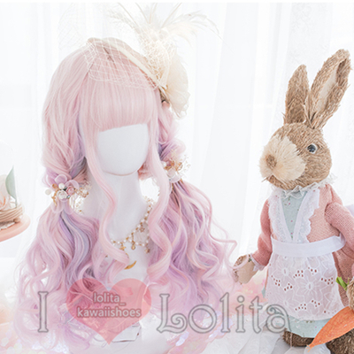 Japanese fashion harajuku kawaii rainbow pink colors long curly wigs daily wigs lk19052812