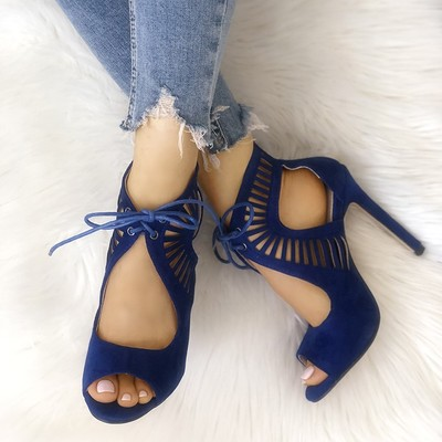Lace-up hollow out open toe heels sandals g-2962