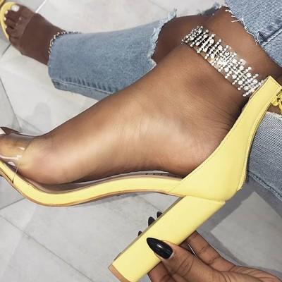 Glittering transparent strap chunky heeled sandals g-2964