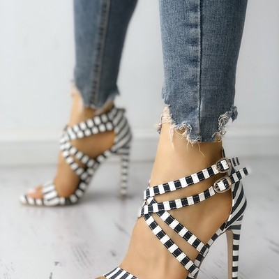 Striped crisscross strappy thin helled sandals g-2971