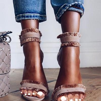 Sexy tassel splicing open toe thin sandals g-2972