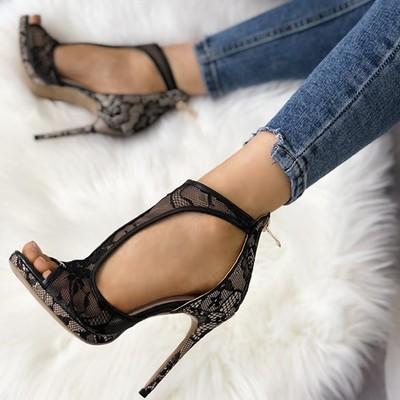 Open toe cutout lace thin heel sandals g-2973