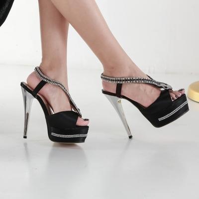 Sexy high heels purple satin platform waterproof peep toe party shoes g-2976