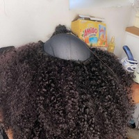 Natural looking kinky human hair (handmade wig) - Thumbnail 1
