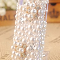 New Bling White Pearls Flower With All Pearls On Transparent Case For Apple iPhone 4 (#318)