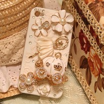 New Bling Crystal Pumpkin Carriage Ballet Girl On Relief iPhone 4/4S Case (#692)