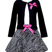 Rare Editions Zebra Print Dress W/ Cardigan