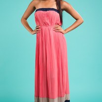 Coral Navy Colorblock Romeo & Juliet Couture Stripe Pleated Tube Maxi Dress - SML