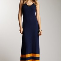 Navy & Orange Stripe Clothing Company Romeo & Juliet Couture Long Maxi Dress SML