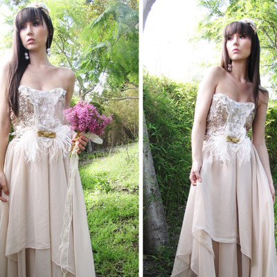 Eco-country chic couture whimsical wedding dress