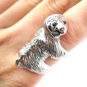 Large Sloth Animal Hug Wrap Ring in Shiny Silver - Sizes 4 to 9 Available