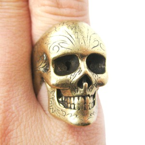 Realistic Skull Skeleton Bone Ring in Bronze with Tattoo Floral Detail
