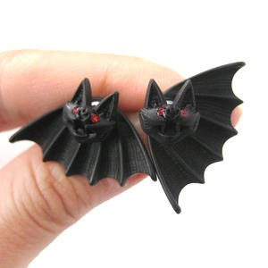 Bat Shaped Two Part Stud Animal Themed Earrings in Black