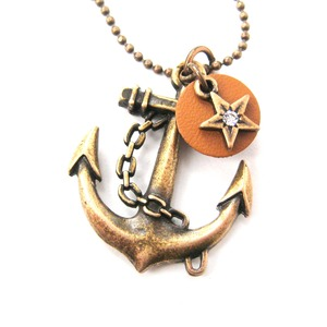 Nautical Anchor and Star Pendant Necklace in Brass