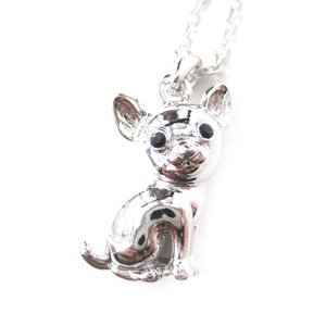 Super Cute Chihuahua Puppy Dog Animal Pendant Necklace in Silver