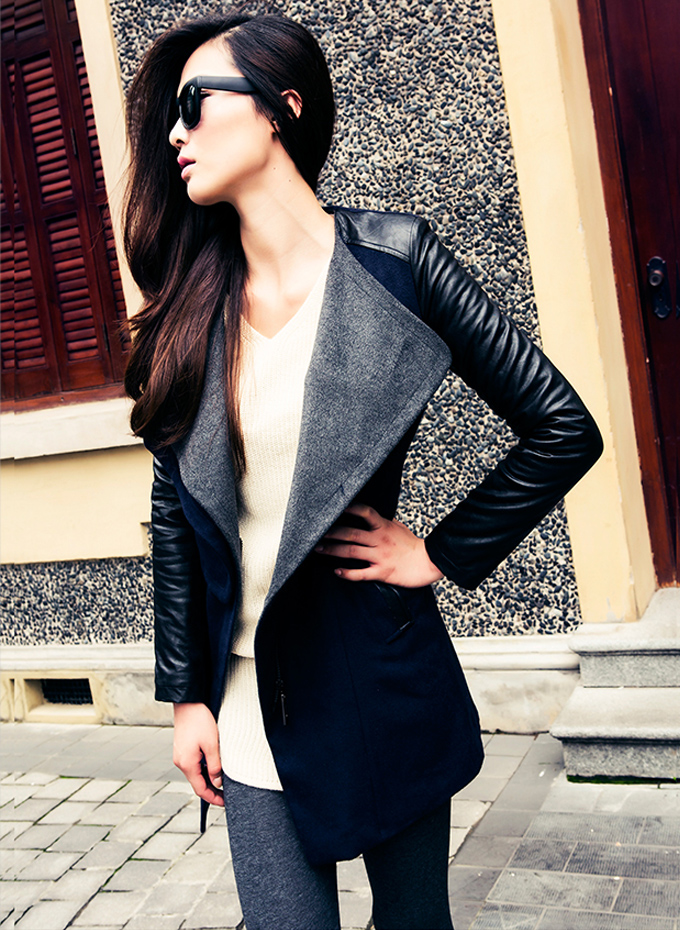 On Sale Faux Leather Sleeves Big Lapels Slim Coat