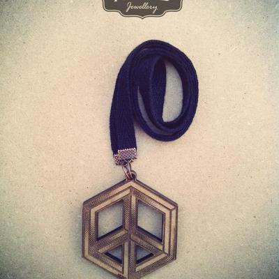 Square peace sign necklace