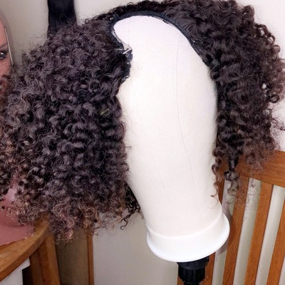 Curly u-part human hair wig (everyday wig)