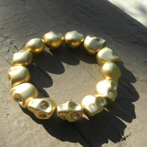 SALE Metallic Gold Skull Bracelet