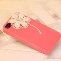 New Bling Crystal White Pearls Daisy Rose Pink iPhone 4/4S Case