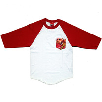 Tropical Pocket Baseball Tshirt WHITE/RED