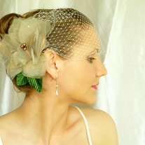 Lovely Flower Taupe Organza Headpiece  - Thumbnail 1