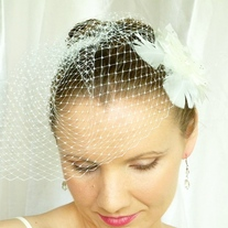 Ivory Flower Bridal Veil Fascinator with Swarovski Crystals and Marabou Feathers  - Thumbnail 1