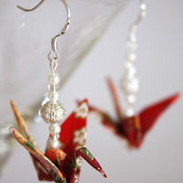 Origami Earrings - Red