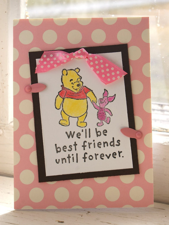 Cold water cards pink and brown winnie the pooh friends forever pink and brown winnie the pooh friends forever handmade valentines greeting card thumbnail m4hsunfo