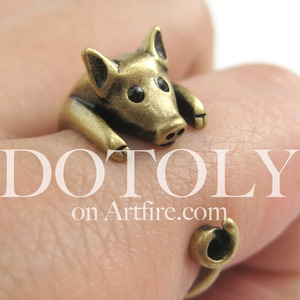Miniature Piglet Pig Ring in Bronze - Sizes 4 to 8.5 Available