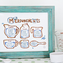 "Chef Julie Yoon - Cooking Measurements & Equivalents Illustration, Kitchen Art, 8x10"" Print"