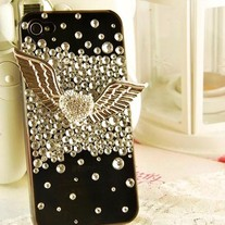 New Bling Crystal Sparkle Angel Wings With Rhinestones iPhone 4/4S Case