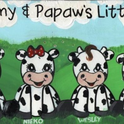 "6"" x 24"" baby cows (personalized sign) wall decor"