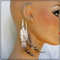 Shell and Feather Ear Cuff
