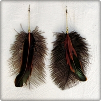 Ostritch and Brown Feather Earrings