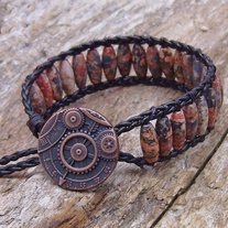 Black Leather and Leopard Skin Jasper Bracelet
